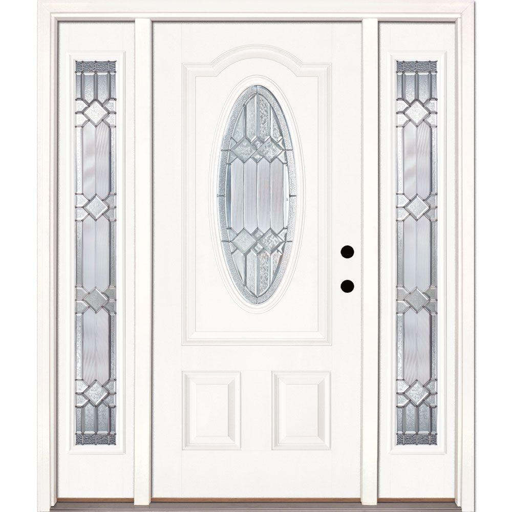 63.5 in.x81.625in.Mission Pointe Zinc 3/4 Oval Lt Unfinished Smooth Left-Hand