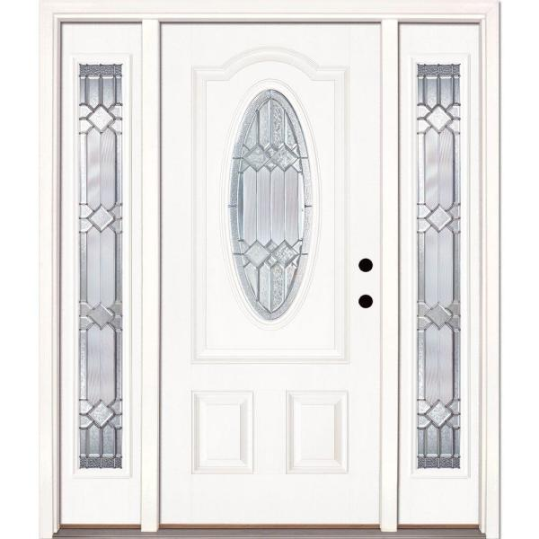 63.5 in.x81.625in.Mission Pointe Zinc 3/4 Oval Lt Unfinished Smooth Left-Hand Fiberglass Prehung Front Door w/ Sidelites