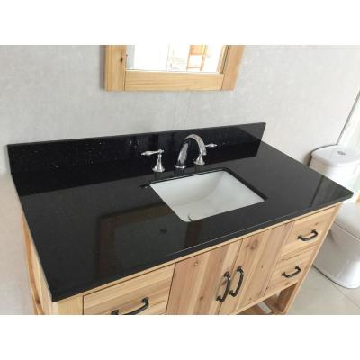 Villa 48 in. W x 22 in. D x 36 in. H Single Vanity in Natural with Granite Vanity Top in Black Galaxy with White Basin