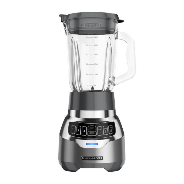 BLACK+DECKER PowerCrush 48 oz. 3-Speed Silver Digital Blender with Quiet
