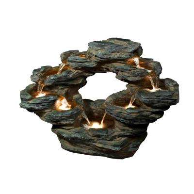 22 in. Tiered Rock Cascading Fountain with LED Lights