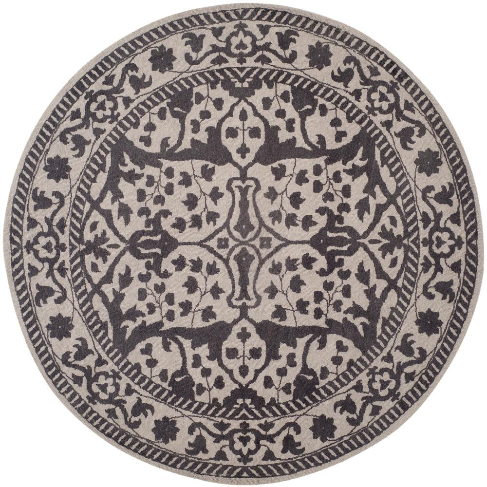 Restoration Vintage Silver/Gray 6 Ft. X 6 Ft. Round Area Rug