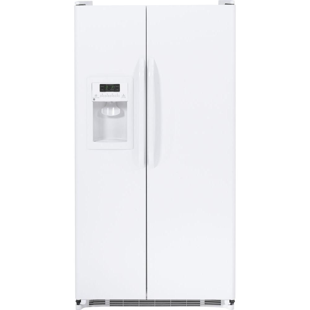 25.3 cu. ft. Side by Side Refrigerator in White GE appliances provide up-to-date technology and exceptional quality to simplify the way you live. With a timeless appearance, this family of appliances is ideal for your family. And, coming from one of the most trusted names in America, you know that this entire selection of appliances is as advanced as it is practical. Color: White.