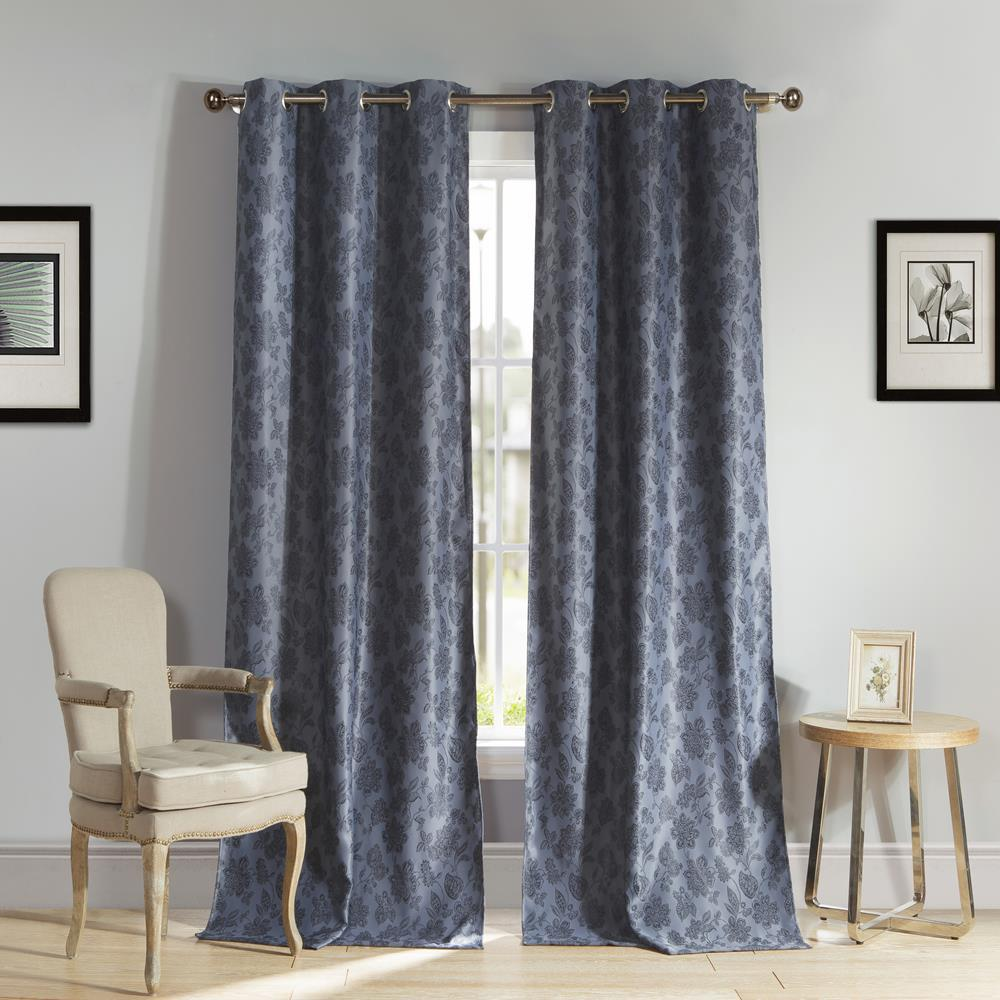 W Polyester Blackout Curtain Panel In Slate Blue 2 Pack