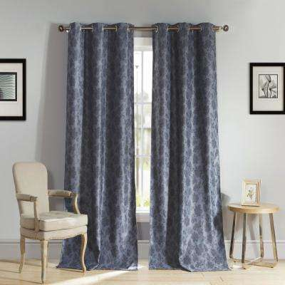 Aeryn 84 in. L x 54 in. W Polyester Blackout Curtain Panel in Slate Blue (2-Pack)