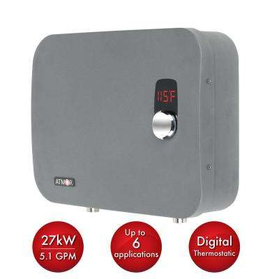 thermopro 27 kw 240volt 51 gpm stainless steel electric tankless water heater with