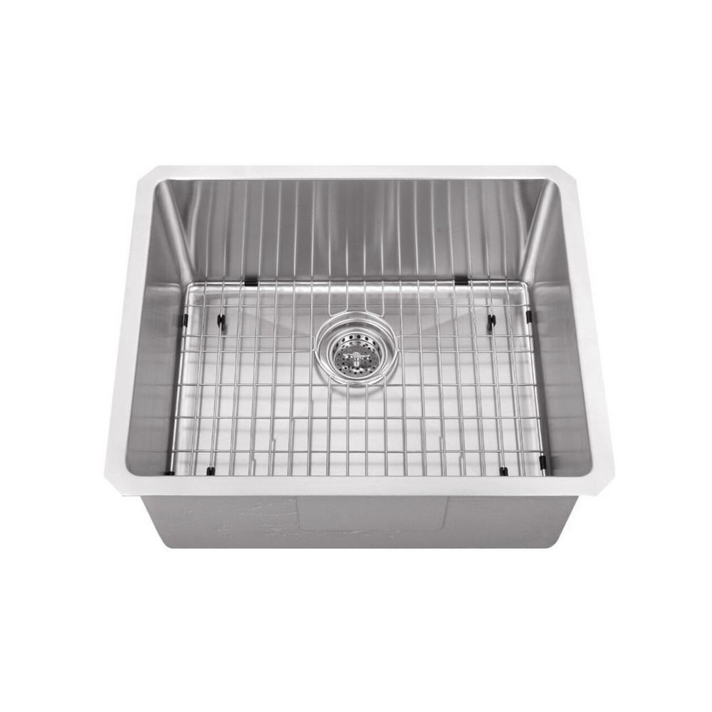 Undermount Stainless Steel 23 in. Zero Radius Corner Large Single Bowl Bar/Prep Kitchen Sink