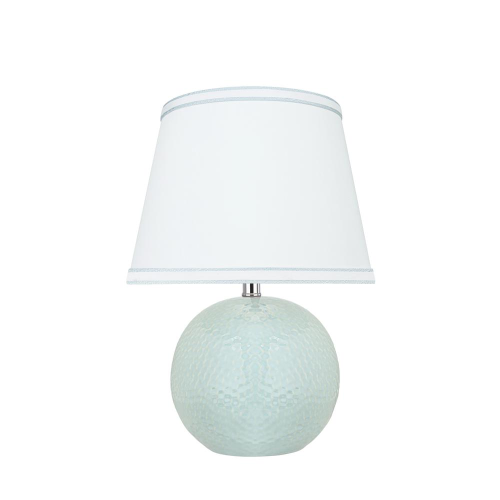 15 in. Light Blue Ceramic Table Lamp with Hardback Empire Shaped Lamp Shade in White