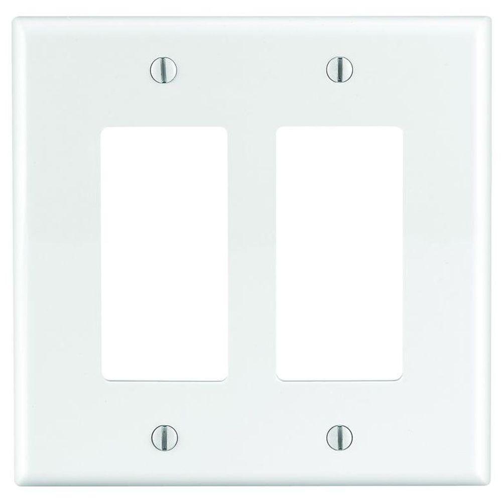 Decora 2-Gang Midway Nylon Wall Plate - White