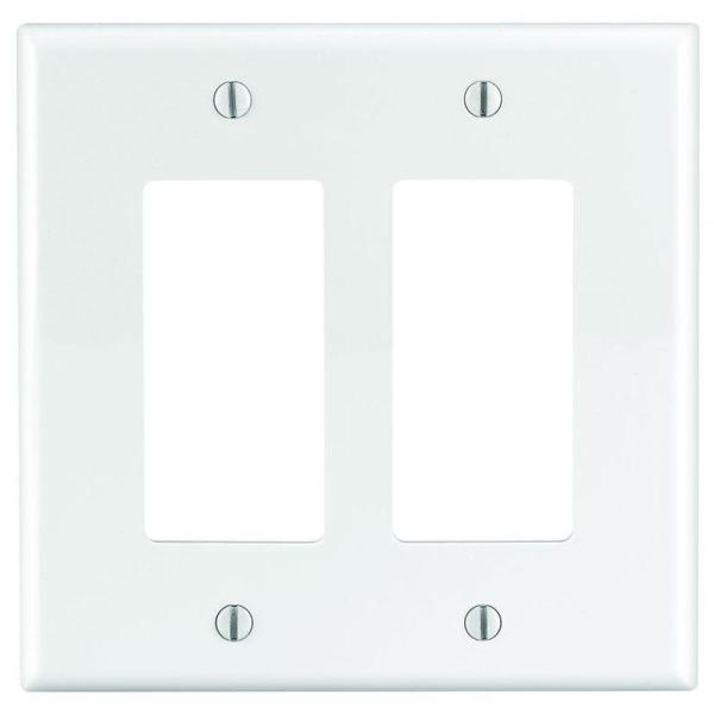Decora 2-Gang Midway Nylon Decorator/Rocker Wall Plate - White
