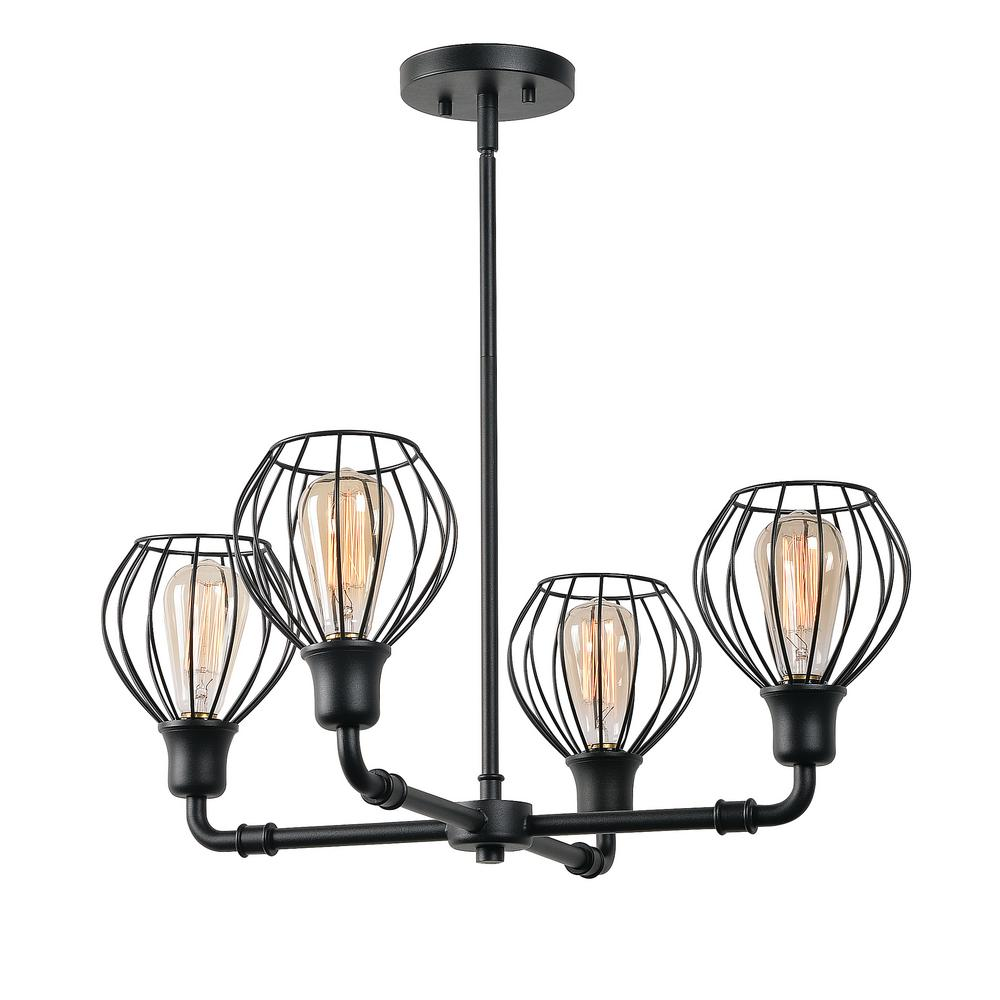 kenroy home cagney 4-light black chandelier with steel wire cage and glass shades-93975bl