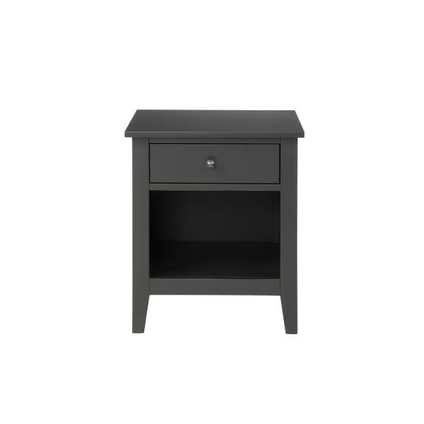 Black Modern Wood Nightstand with Drawer
