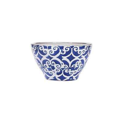 5.5 in. White/Blue Scroll Design Bowls (Set of 4)