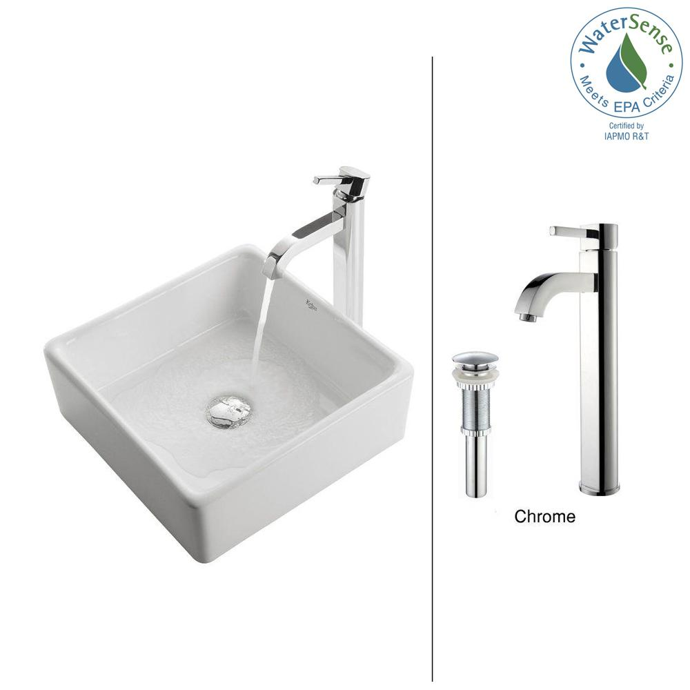 Square Ceramic Vessel Sink In White With Ramus Faucet In Chrome