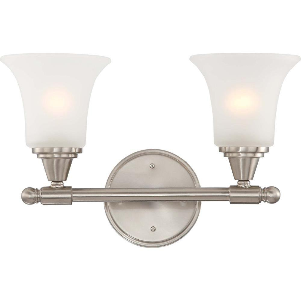 2-Light Brushed Nickel Vanity Fixture with Frosted Glass