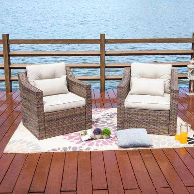 Removable Cushions Wicker Outdoor Lounge Chair with Beige Cushions (2-Pack)