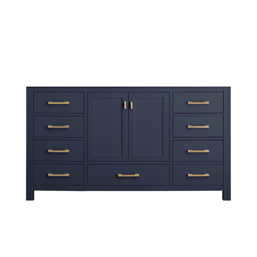 Modero 60 in. W x 21 in. D x 34 in. H Vanity Cabinet Only in Navy Blue