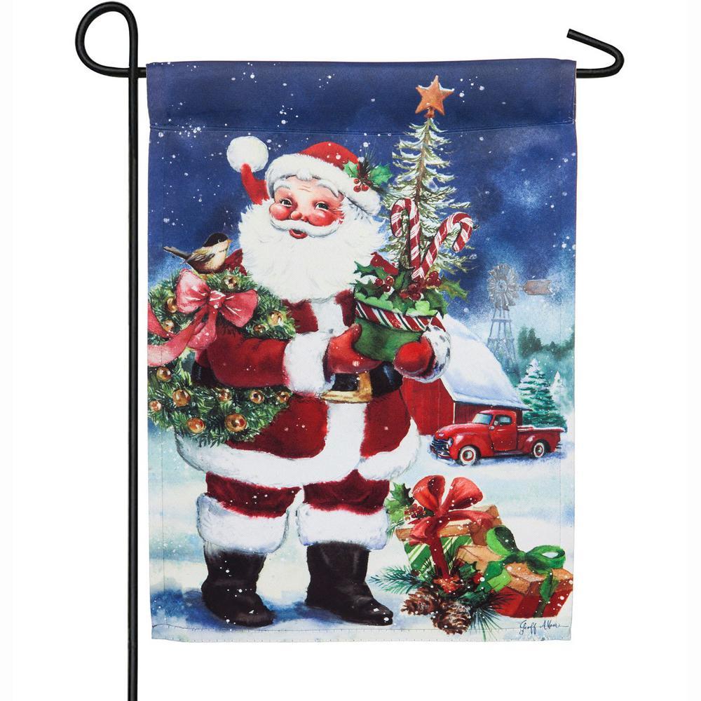 18 in. x 12.5 in. Christmas Barn Santa Garden Suede Flag
