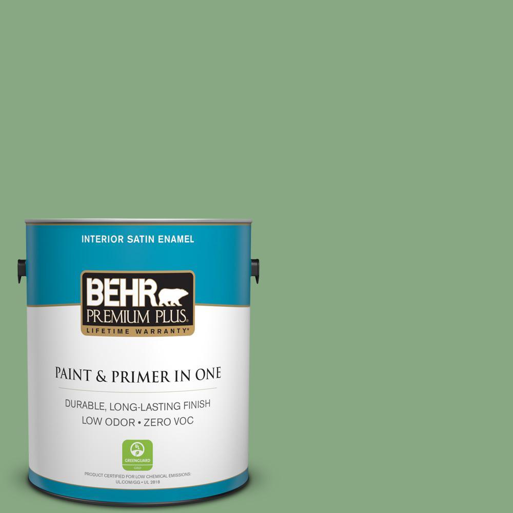 1-gal. #M400-5 Baby Spinach Satin Enamel Interior Paint