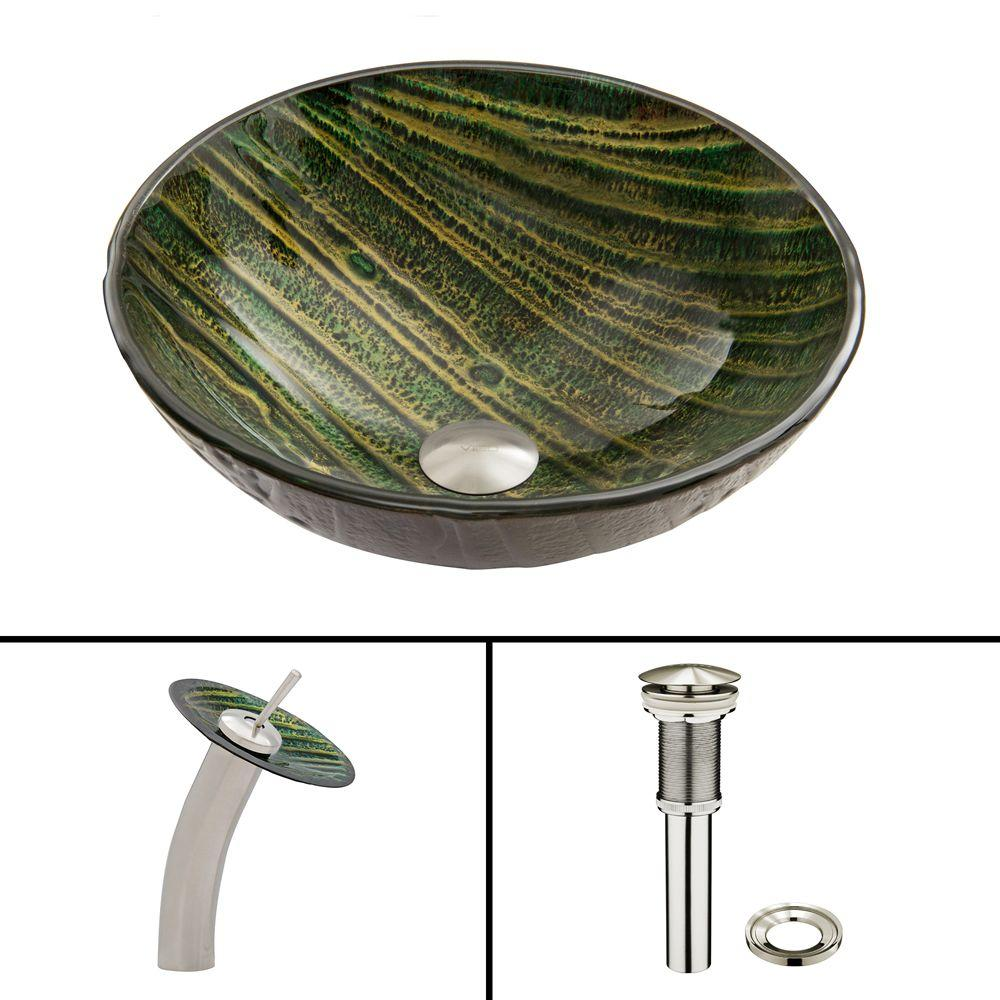 VIGO Glass Vessel Sink in Green Asteroid and Waterfall Faucet Set in Brushed Nickel