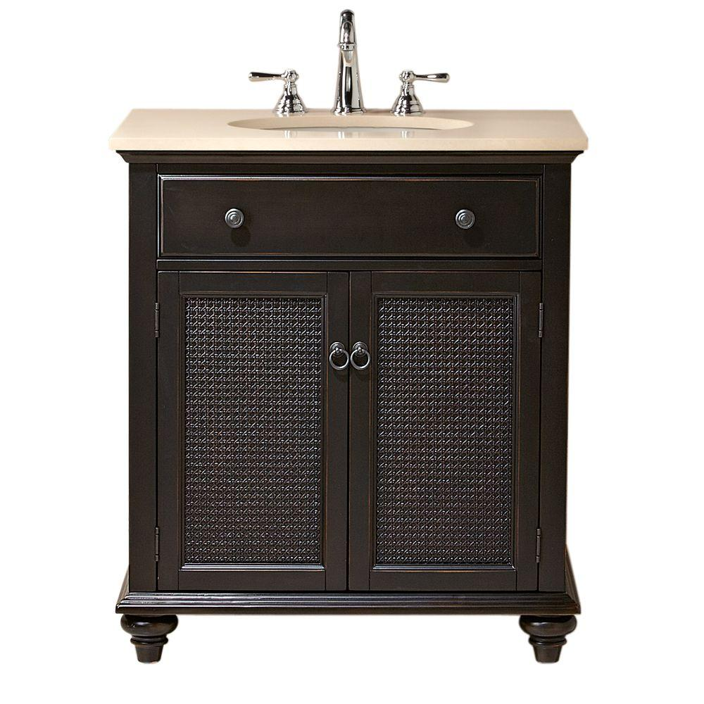 Home Decorators Collection Ansley 30 in. W Single Bath Vanity in Worn Black with Stone Vanity Top in Cream