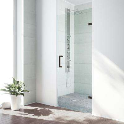 SoHo 28 in. to 28.5 in. x 70.625 in. Adjustable Frameless Hinged Shower Door in Antique Rubbed Bronze with Clear Glass
