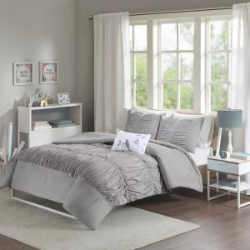 Tatiana 4-Piece Grey King Comforter Set