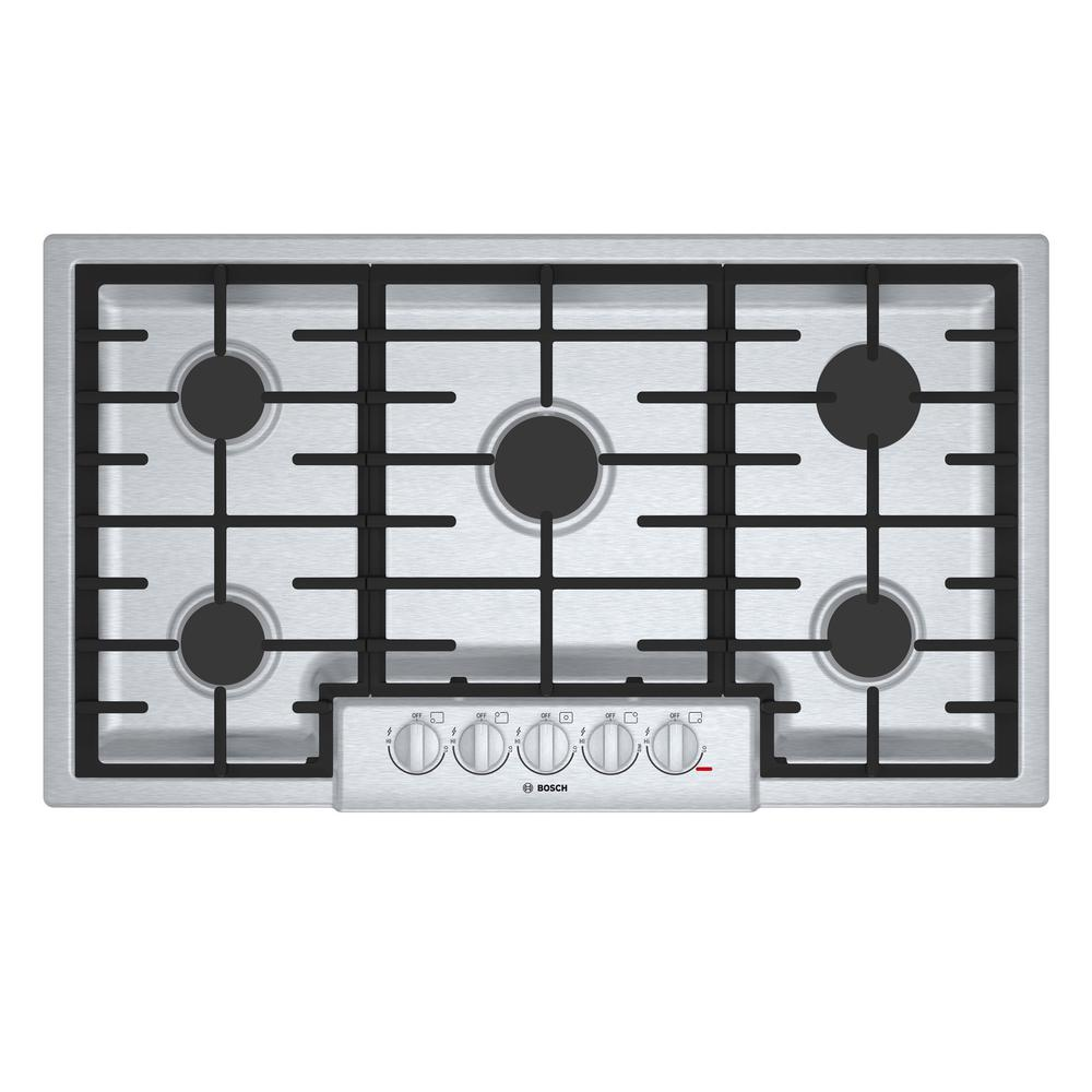 Gas Cooktop In Stainless Steel With 5 Burners Including 19 000