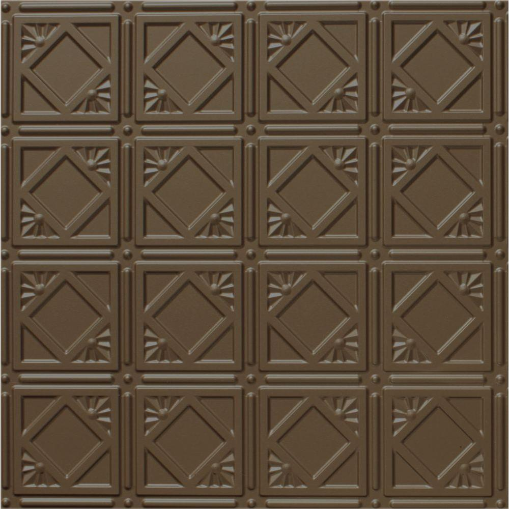 Global Specialty Products Dimensions 2 ft. x 2 ft. Bronze Lay-in Tin Ceiling Tile for T-Grid Systems
