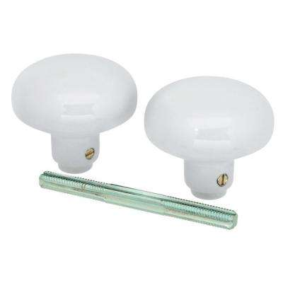 White Door Knob Set with Spindle