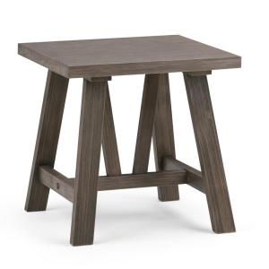 Dylan Solid Wood 20 in. Wide Square Modern Industrial Modern Industrial End Side Table in Driftwood