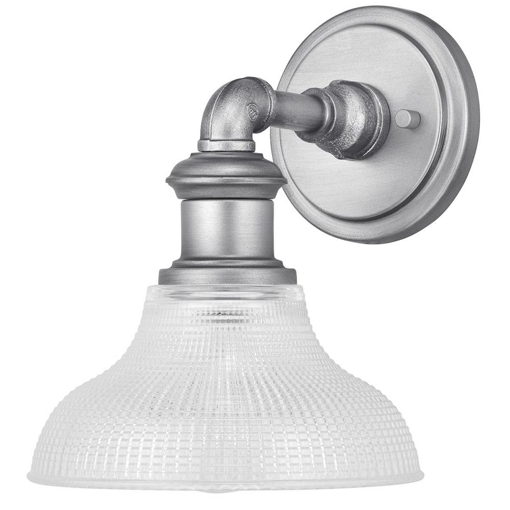 Home Decorators Collection Foxcroft 5 in. Antique Nickel Sconce with Clear Prismatic Glass Shade