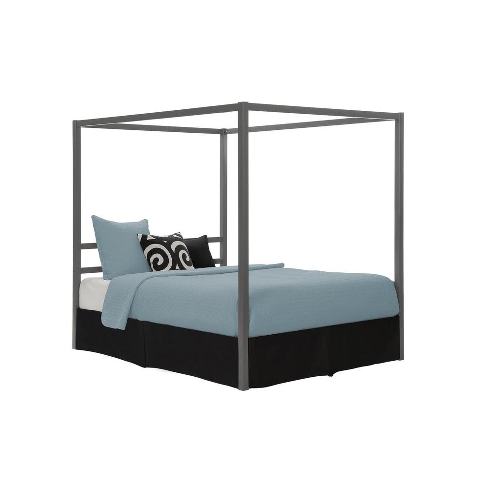 2f123fea0a8b DHP Rory Metal Canopy Grey Queen Size Bed Frame DE23556 - The Home Depot