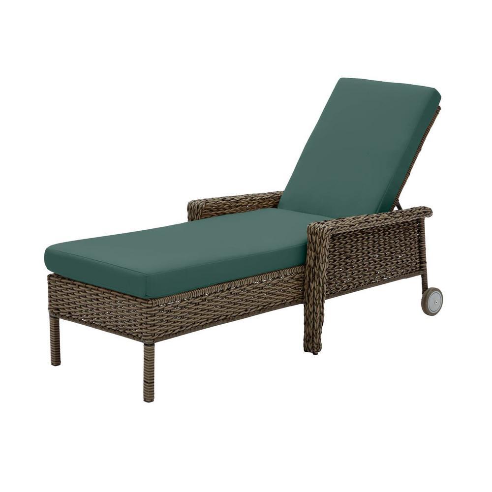 Laguna Point Brown Wicker Outdoor Patio Chaise Lounge with CushionGuard Charleston Blue-Green Cushions