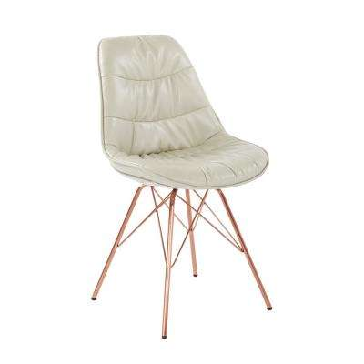 Langdon Cream Faux Leather Chair with Rose Gold Base