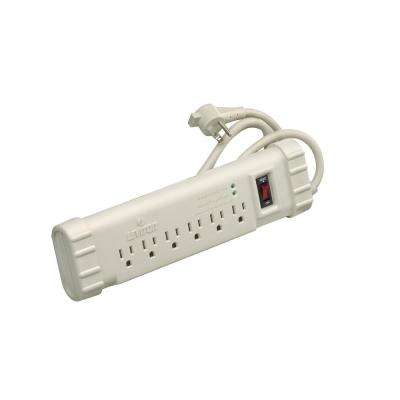 15 Amp Office Grade Surge Protected 6-Outlet Power Strip, 1010 Joules, On/Off Switch, 15 Foot Cord, Beige