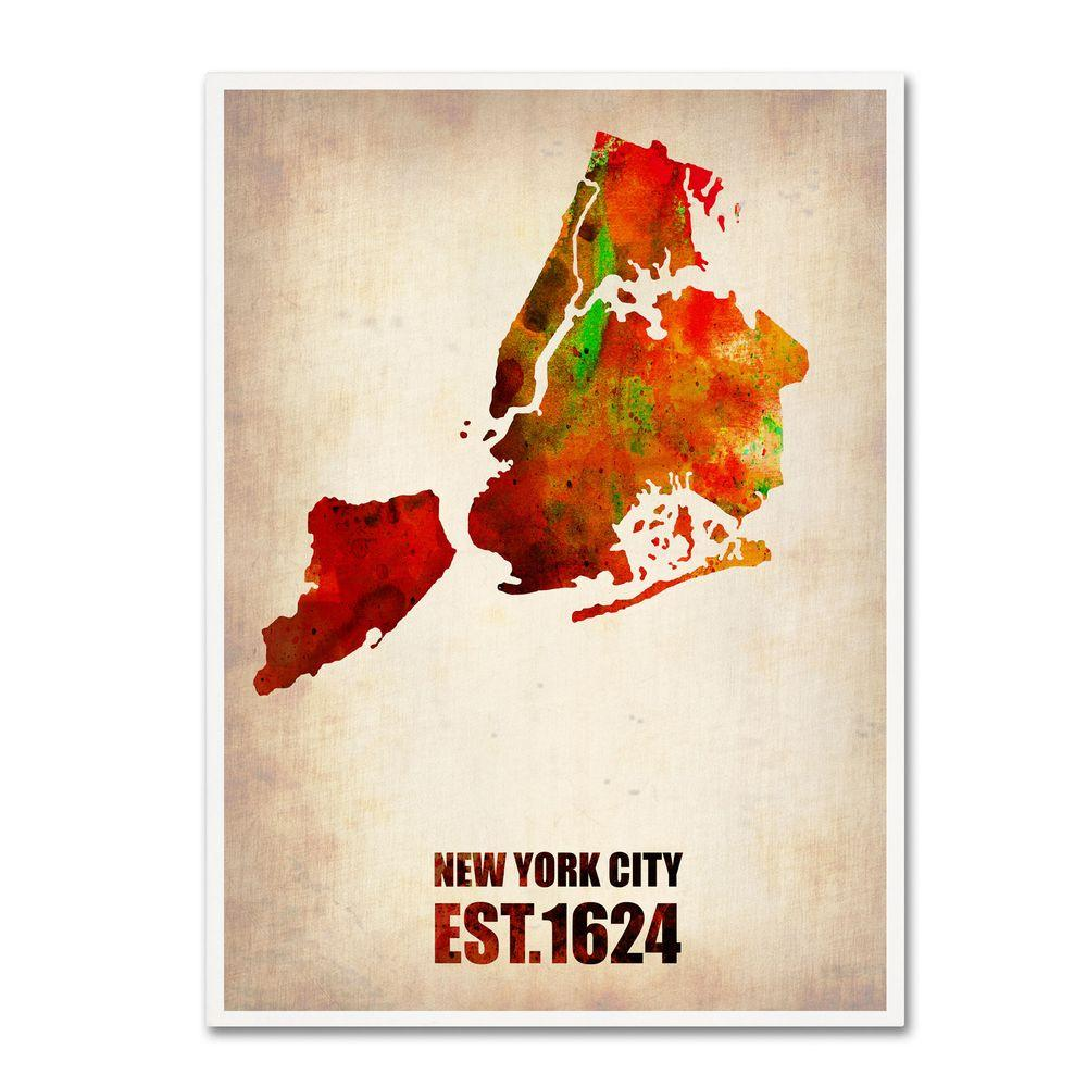 24 in. x 18 in. New York City Watercolor Map 2