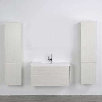 39.4 in. W x 19.4 in. H Bath Vanity in Gray with Resin Vanity Top in White with White Basin