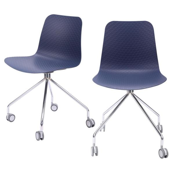 Hebe Series Navy Office Chair Designer Task Chair Molded Plastic Seat with Chrome Wheel Legs (Set of 2)