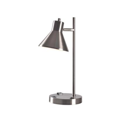 Ashville 18.25 in. Brushed Steel Outlet and USB Desk Lamp
