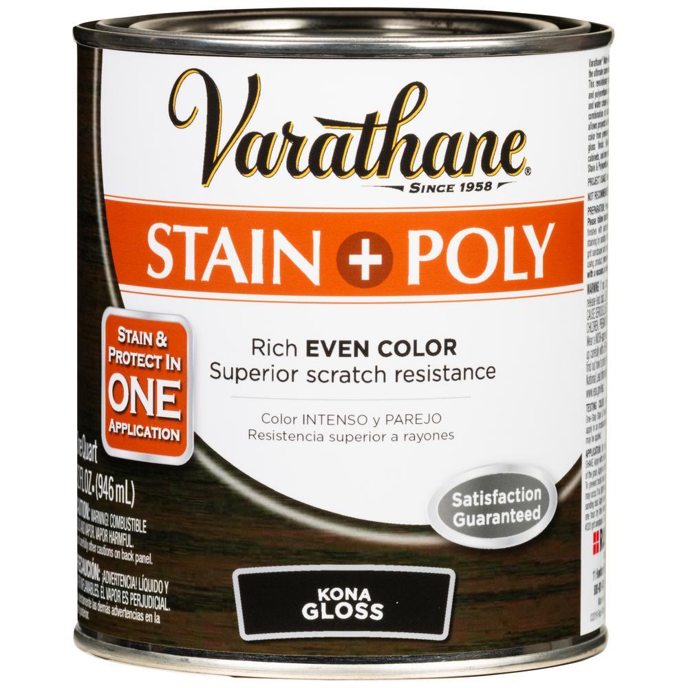 Varathane 1 Qt. Kona Gloss Water-Based Interior Wood Stain and Polyurethane (2-Pack)