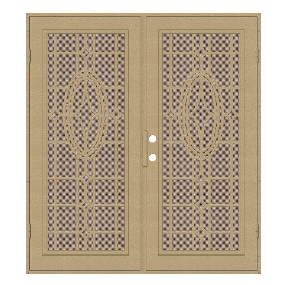 Unique Home Designs 72 in. x 80 in. Modern Cross Desert Sand Right-Hand Surface Mount Security Door with Desert Sand Perforated Screen