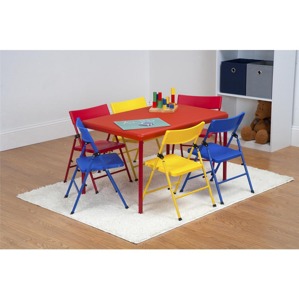 7-Piece Red Folding Table and Chair Set