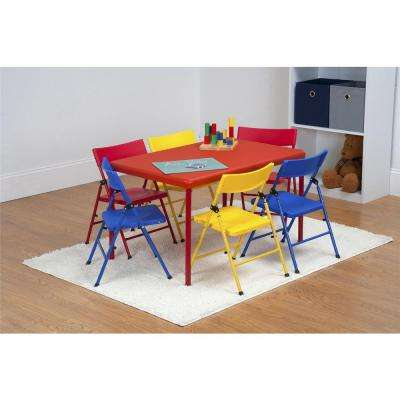 7 Piece Red Folding Table And Chair Set