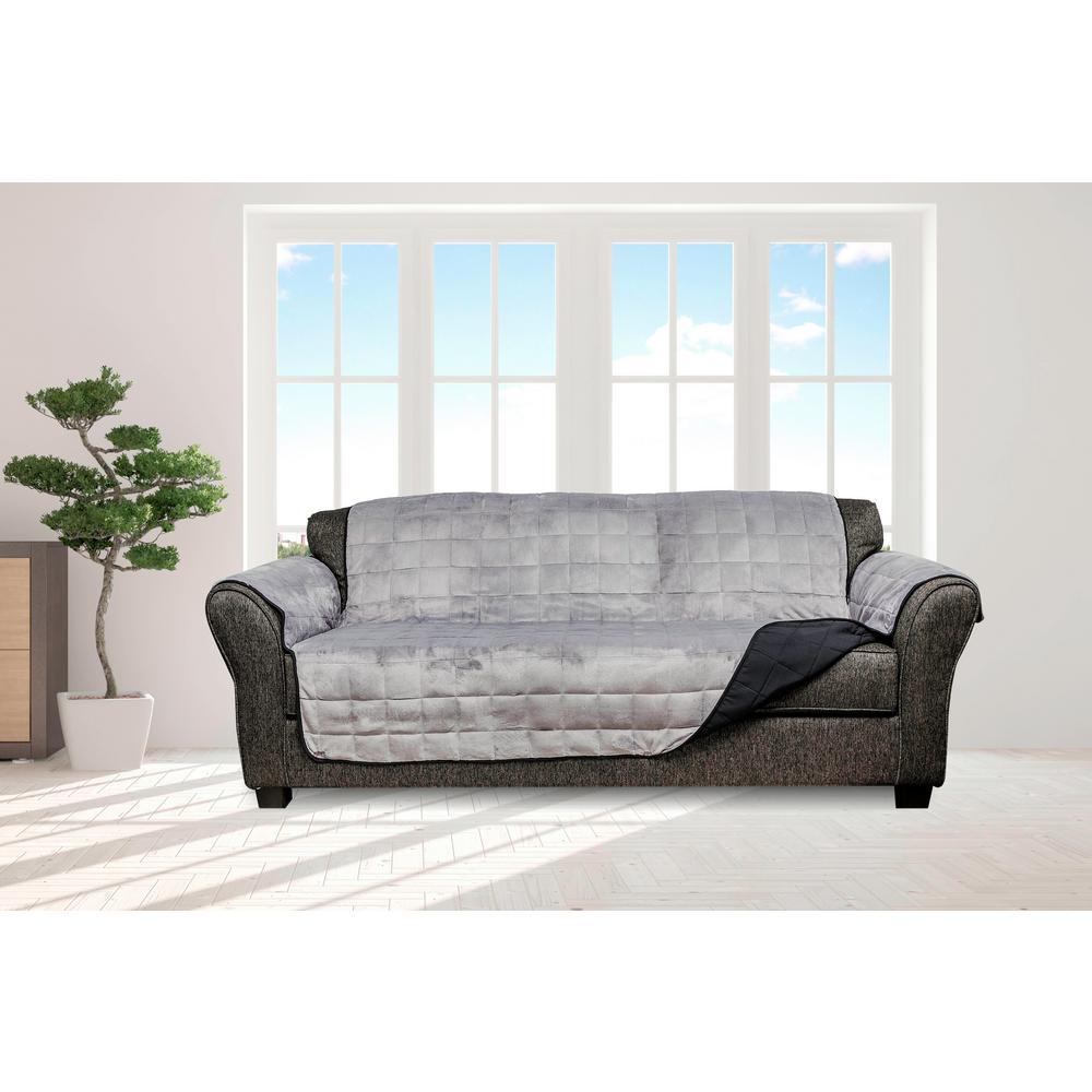 Quickfit Joseph Black And Grey Flannel Reversible Waterproof Microfiber Sofa Cover