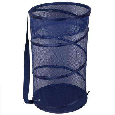 Blue Collapsible Mesh Laundry Hamper