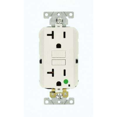 20 Amp Lev-Lok Modular Wiring Device SmartlockPro Hospital Grade Extra Heavy Duty GFCI Outlet, White