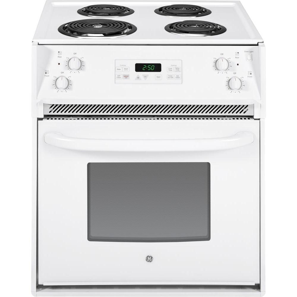 GE 27 in. 3.0 cu. ft. Drop-In Electric Range with Self-Cleaning Oven in White