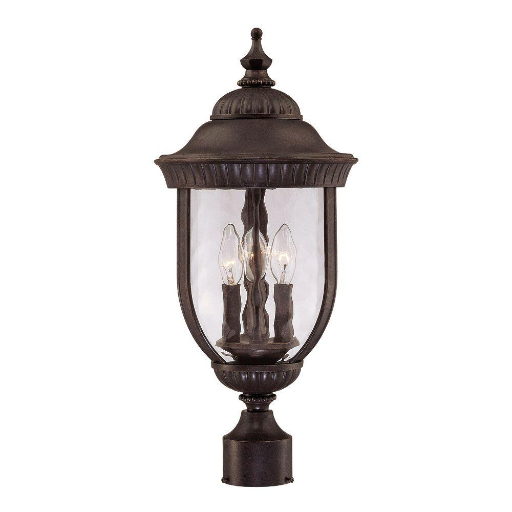 3-Light Post Lantern Walnut Patina Finish Clear Hammered Glass