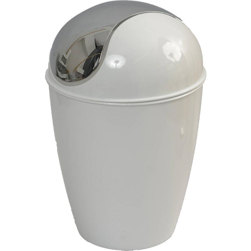 4.5 l/1.2 Gal. Round Bath Floor Trash Can Waste Binand in White
